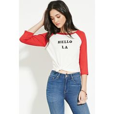 Forever 21 Women's  Hello LA Baseball Tee ($11) ❤ liked on Polyvore featuring tops, t-shirts, graphic baseball tees, baseball tee shirt, forever 21 t shirts, baseball tee and baseball shirts