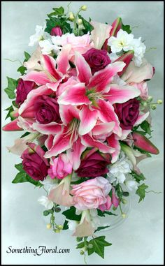 High quality, realistic, artificial/silk floral, pink and white stargazer lily…