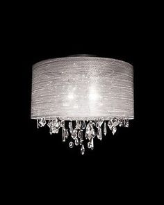 Crystal Pendant Chandelier Ceiling Flush Mount Light White Silk Drum Shade LT112