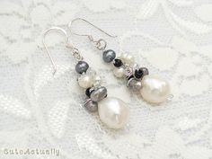 Black+gray+and+white+freshwater+pearl+earring+with+crystal+and+glass+beads+on+silk+thread%2C+sterling+silver+earwires Bridesmaids
