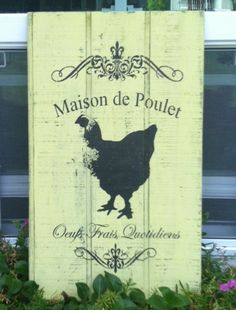 Chicken Coop Sign Decor Rooster Vintage Wood Shabby Chic Cottage French Provincial Farmhouse Rustic Black White via Etsy