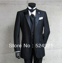 New Arrival Black Groom Tuxedos Best Man Peak Satin Lapel Bridegroom Groomsmen Men Wedding Suits(Jacket+Pants+Tie+Vest) A82 on AliExpress.com. $126.00