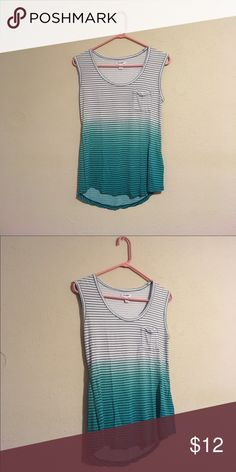 Turquoise Ombré Tank Top Turquoise striped ombre tank top//worn only once//scoop hem//small breast pocket//comfortable and soft Old Navy Tops