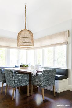 Breakfast Nook with Rattan Pendant Light