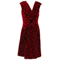 Preowned Prada Red And Black Burnout Velvet Sleeveless Dress Sizes 42... ($550) ❤ liked on Polyvore featuring dresses, red, prada, preowned dresses, red velvet cocktail dress, red and black dress and red sleeveless dress