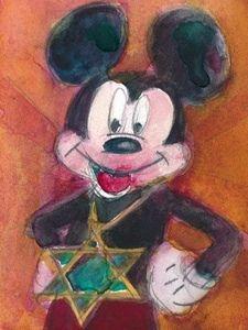 "Rifkin ""ACEO"" ORIGINAL Watercolor ""PASSOVER MICKEY"""