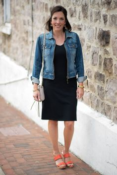 Fashion for Women Over 40: Casual Black Dress Outfit with Orange Wedge Sandals and Denim Jacket