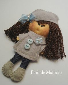 Felt brooch  Matilda Grey Day, Felt doll, Fabric Brooch, Art Brooch, Wearable Art Jewelry, Autumn doll brooch,. €15.00, via Etsy.