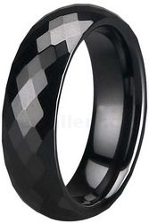 6mm Black Zirconia Ceramic Facetted Court Wedding Ring