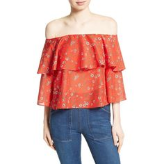 Women's Alice + Olivia Meagan Double Layer Off The Shoulder Top ($250) ❤ liked on Polyvore featuring tops, dainty daisy, flounce tops, ruffle top, off the shoulder tops, red off shoulder top and daisy top