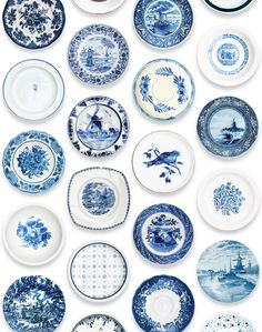 Whether you want Delft cool or Mediterranean warmth, a blue and white palette is all you need Blue And White China, Blue China, Love Blue, White White, Blue Grey, Delft, White Decor, Plates On Wall, Plate Wall