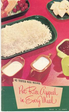 42 Tested Rice Recipes Put Appeal in Every Meal is an undated vintage cookbook by the Texas Rice Promotion Association. It is 5 x 8 and 33 pages. By Birdhouse Books on Etsy