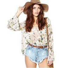 Women Bell Flared Sleeves Chiffon Loose Top Shirt Blouse See Through V Neck Boho