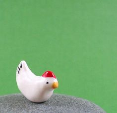 Little Chicken - Hand Sculpted Miniature Polymer Clay Animal via Etsy
