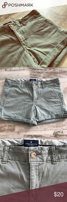 Olive Green AE Stretch Shorts Olive green American Eagle midi stretch shorts. These shorts are in great condition. There is a slight bit of wrinkle at the bottom from being worn rolled up, but it could easily be ironed back. No tears, snags or stains. These shorts are great for a comfortable wear or as shorts for work. ✨Bundle and save 15%✨ American Eagle Outfitters Shorts