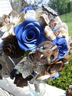 Dr. Who Paper Flower Wedding Bouquets. You Pick by TreeTownPaper