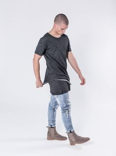 Slugger - Charcoal  $82.00    The Slugger is a perfect fitting double layered scooped shirt with a double sleeve detail with a drop shoulder look. This shirt takes the work out of creating a perfect layered look. The top layer has a raw hems and a scoop cut, while the bottom layer has a elongated straight cut hem. This design comes with our signature cut and sew detail on the rear.     https://kollarclothing.com/collections/all/products/slugger-tee-charcoal