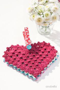 Crochet Granny Hearts free pattern