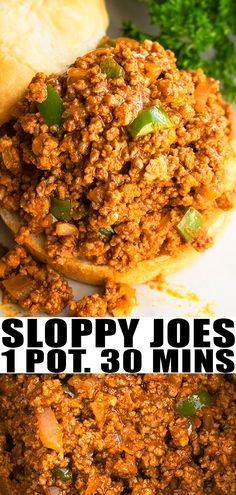 INSTANT POT SLOPPY JOES RECIPE- Best, classic, old fashioned, quick, easy, homemade with simple ingredients in Instant Pot or pressure cooker. This  30 minute meal with tender ground beef or pork or turkey can be made on stovetop or slow cooker/ crockpot too! Better than Manwich! From OnePotRecipes.com #sloppyjoes #beef #dinner #recipes #instantpot #pressurecooker #onepotmeal #onepotrecipes #30minutemeal #30minuterecipes