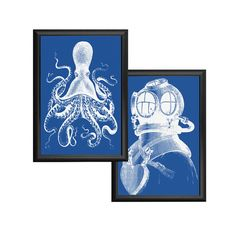 Octopus and Deep Sea Diver Blue and White Nautical Vintage Style Print Set Beach… Vintage Images, Vintage Art, Vintage Style, Gaming Lounge, Deep Sea Diver, Beach House Decor, Octopus, Nautical, Vintage Fashion