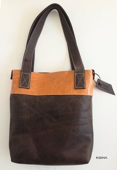 Leather tote bag shoulder bag messenger leather by KishaDesigns