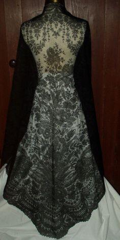 Chantilly black lace mid Victorian shawl.