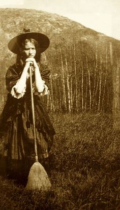 vintage photo postcard girl witch broomstick costume halloween