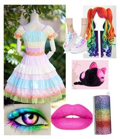 """Rainbow Lolita"" by scarredsurvivorremix on Polyvore featuring Sugarpill, Jimmy Choo and Y.R.U."