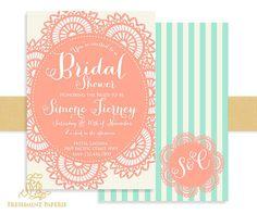 Printable invitations - bridal shower invitation - Doily - calligraphy - lace invitationm - freshmint paperie