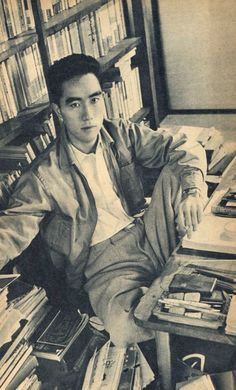 Yukio Mishima - well respected Author who had a haywire side. Men Of Letters, Writers And Poets, Book Writer, Playwright, Ex Libris, Man Photo, Portraits, Japanese Art, Japanese Film