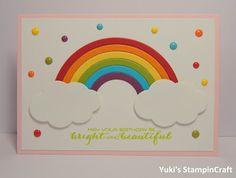スタンピンアップ サンシャイン&レインボー・スタンプセットとFramelitsダイ・レインボー・ビルダーで可愛い虹のバースデーカード! Birthday card using Sunshine & Rainbow stampset and Rainbow Builder Framelits Dies, Stampin' Up!