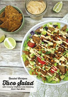 Roasted Chickpea Taco Salad with Creamy Chipotle Lime Dressing