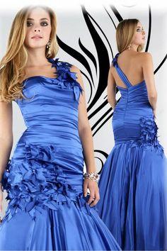 Charming Floral Royal Blue One-Shoulder Satin Mermaid/Trumpet Plus Size Prom Evening Dress
