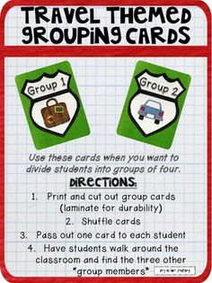 Looking for a fun and easy way to divide your students into groups for group work? Look no further - these cards will have your students up and moving to find their groups. Plus they won't complain because the teacher (YOU!) didn't assign their groups :) Directions:1.