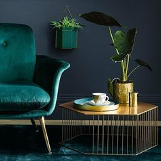 11 Ways To Elevate Your Houseplants #artdecointerior 11 Ways To Elevate Your Houseplants | With a nod to theArt Decostyle, we've seen emerging, this Uyova Metal Wall Planter will addinstantglamourto your walls. I'm loving the on-trend teal colour but there's also a pink version if you prefer a softer colour #artdeco #houseplants #planters #wallplanters #homedecor #design #interiors #interiorinspo #livingroomideas