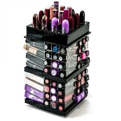 Love your lippies? We have the perfect spinning lipstick tower that holds up to 108 lipsticks and 8 lipglosses. The perfect lipstick organizer for your vanity! Lipstick Organizer, Lipstick Holder, Cute Makeup, Diy Makeup, Teen Makeup, Makeup Desk, Makeup Drawer, Makeup Box, Makeup Inspo