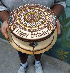 Henna inspired birthday cake for the boss! All buttercream.