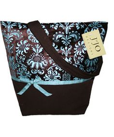 Shop for Sweet Jojo Designs Blue/ Chocolate Jacquard Handbag. Get free delivery On EVERYTHING* Overstock - Your Online Handbags Outlet Store! Blue Chocolate, Cute Purses, Boutique Design, Jacquard Fabric, Handbags Online, Beautiful Bags, Grosgrain Ribbon, Things To Buy, Fabric Design