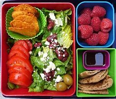 Fresh and Healthy:  Green Salad with Feta: 50 Cal Raspberry Vinaigrette: 30 Cal 8 BBQ Chips: 75 Cal Whole Wheat Pita: 170 Cal 1 C Raspberries: 65 Cal Total: 390 Calories!