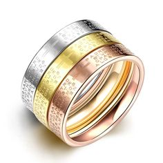 2016 Quality New Tricolor Ring Letters Cross Women Men Three Stainless Titanium Steel Carter Rings Popular Wedding Jewelry #Affiliate