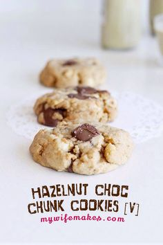 100% Vegan Hazelnut Choc Chunk Cookies! Soft and chewy, sweet and creamy! Goes perfect with pistachio milk (see next picture!) :)