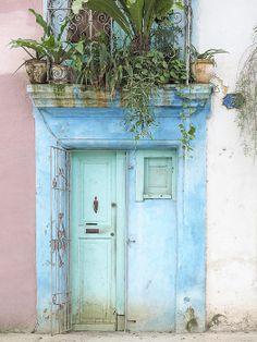 Cuba - Aqua Blue Door Image Art by Jo Ann Tomaselli. Fine art prints and posters for sale. #joanntomaselli #fineartphotography #cuba