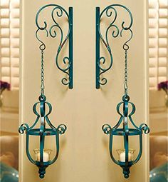 Set of 2 Distressed Turquoise Teal Vintage Style Metal Decorative Wrought Iron Hanging LED Candle Lantern Sconce Home Accent Decoration KNL Store http://smile.amazon.com/dp/B00SAGGW8K/ref=cm_sw_r_pi_dp_-IXNwb16P46D7