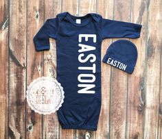 Baby Boy Coming Home Outfit, Newborn Boy, Monogrammed Gown and Hat Set, Monogram Baby Boy, Newborn Boy Outfit, Monogram Navy Gown by ShopEMDesigns on Etsy
