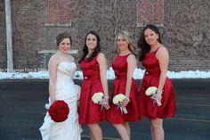 Winter Wedding red Bouquet White Bridesmaids Bouquets