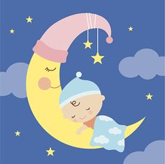 Illustration about Illustration of a baby sleeping on the moon. Illustration of family, life, shower - 36489602 Clipart Baby, Baby Boy Cards Handmade, Happy Week End, Moon Illustration, Boy Decor, Free Vector Art, Fabric Panels, Baby Sleep, Baby Pictures