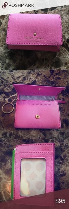 Kate Spade Mini Darla Wallet Key Ring Light Pink New without tags, Light Pink small wallet with gold logo.  For skit come with box or dust bag. Never used.  Has key ring, zipper coin slot, ID slot, and many places to store cards. Does not have any tones of purple.  I tried to take photos in different lighting to show you. kate spade Bags Wallets