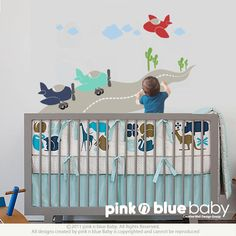 Airplane   Kids Wall Decal Set All Kids love this by pinknbluebaby, $42.00