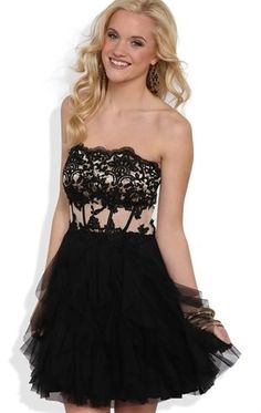 Deb Shops Strapless Short #Prom #Dress with Floral Corset Bodice and Tendril Skirt $86.90