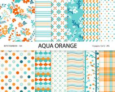Digital paper aqua orange blue, aqua orange digital paper pack, 12 papers - BR 169